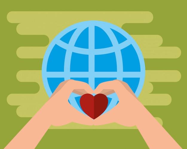 Handen met hart voor liefdadigheidsschenking