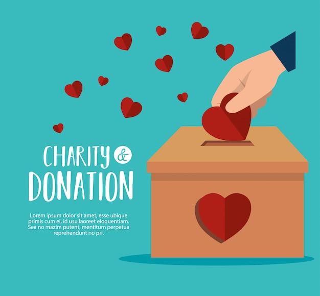 Handen met harten voor liefdadigheidsschenking