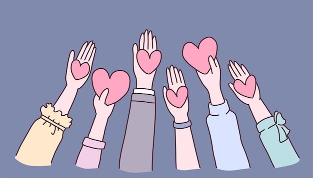 Handen met harten