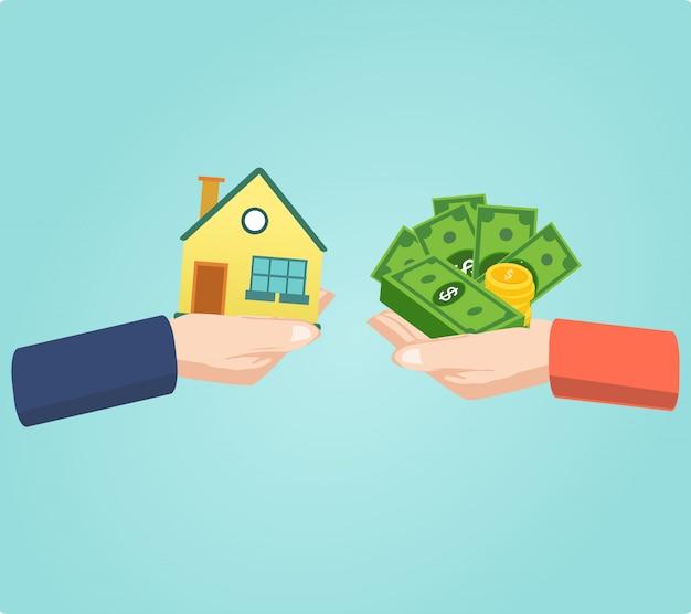 Handen met huis en geld tas