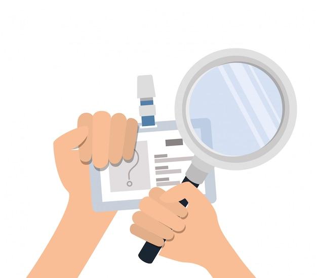 Handen met identificatiekaart en vergrootglas