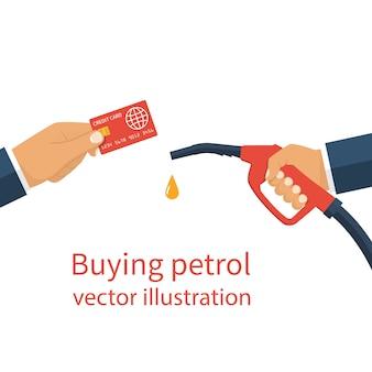 Handen met kaart en gas dispenser