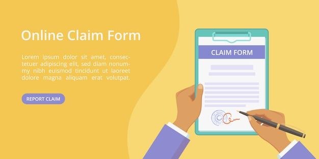 Handen met klembord claimformulier webpagina sjabloon