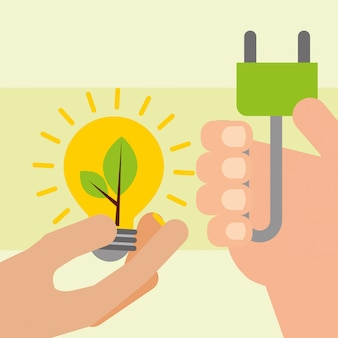 Handen met lamp- en stekkerenergie-ecologie