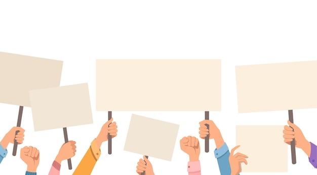 Handen met leeg protestbord, plakkaat sjabloon platte vectorillustratie op witte achtergrond