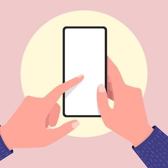 Handen met lege scherm mobiele telefoon en wijzend op het lege scherm.