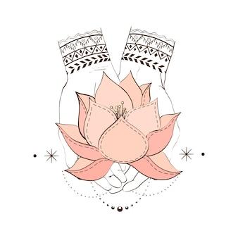 Handen met lotos