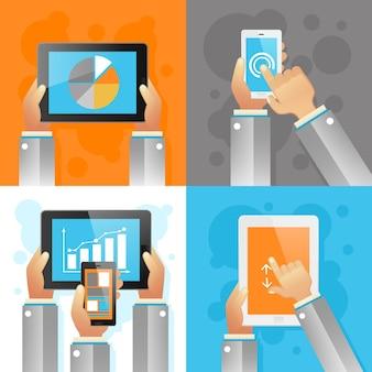Handen met mobiele apparaten