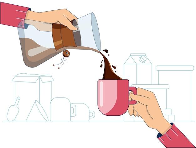 Handen met mok en kruik met warme koffie voor een eenvoudig keukeninterieur