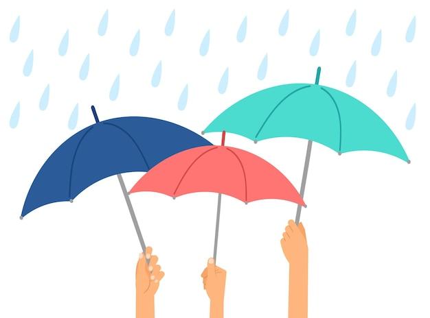 Handen met paraplu's. regen beschermen, herfst of winter nat weer. paraplu en waterdruppels, seizoen vectorillustratie