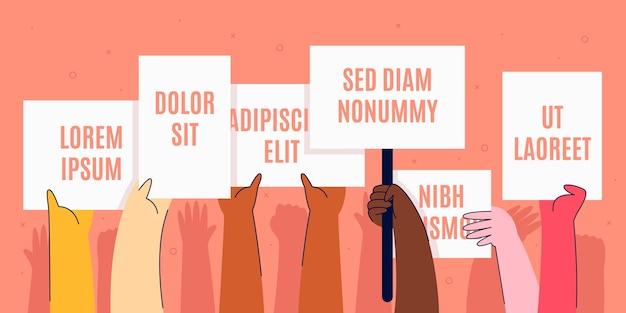 Handen met plakkaten stoppen racisme concept