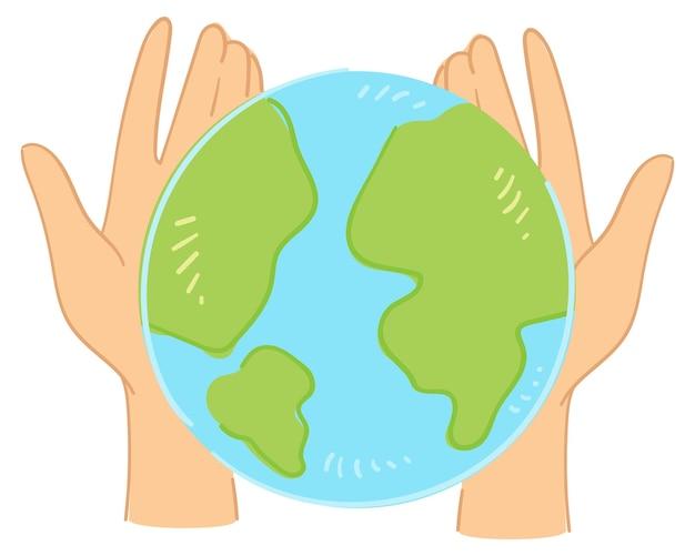 Handen met planeet aarde, geïsoleerd teken of icoon van zorg en bescherming van problemen met ecologie en milieuvervuiling. duurzaamheid en verantwoordelijkheid van de mensheid. vector in vlakke stijl