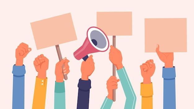 Handen met protestbanners en plakkaten megafoon