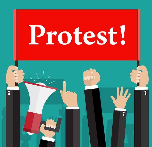 Handen met protestborden en megafoon