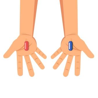 Handen met rode en blauwe pillenkeus