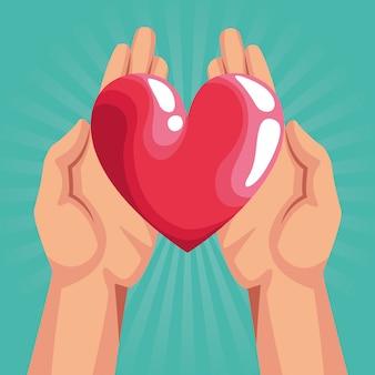 Handen met rood hart over turquoirse