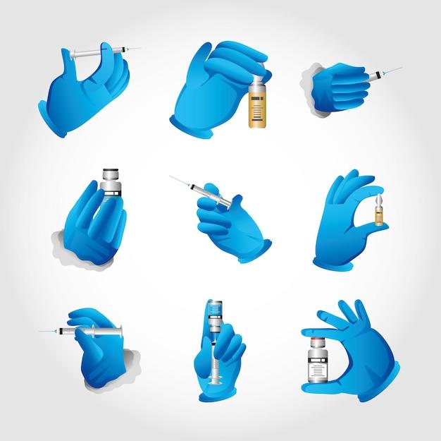 Handen met rubberen handschoen voor de behandeling van influenza coronavirus of illustratie