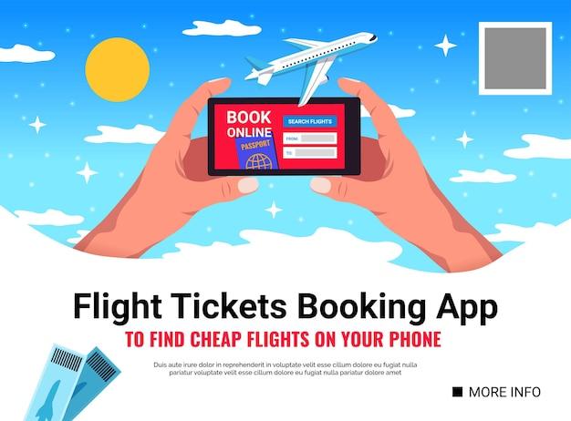 Handen met smartphone app het boeken van de illustratie van vliegtickets