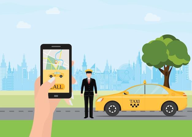 Handen met smartphone en taxi-applicatie