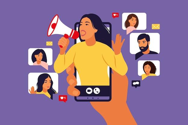 Handen met smartphone met een meisje dat in luide spreker schreeuwt.