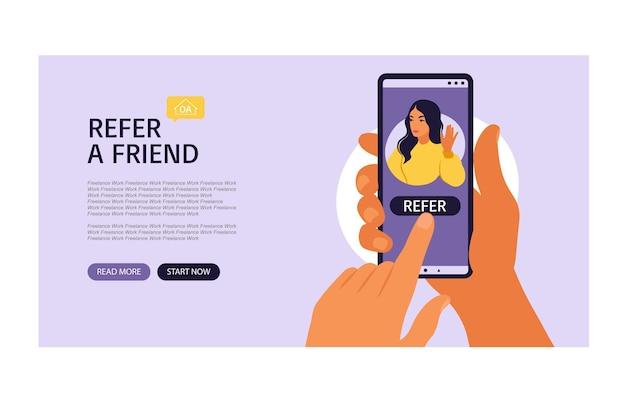 Handen met smartphone met een vrouw social media profiel of gebruikersaccount. bestemmingspagina verwijst een vriend door, volgens het concept voor toevoegen. vector illustratie. vlak.