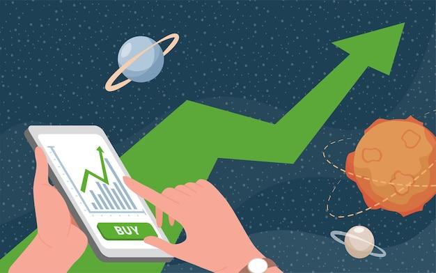 Handen met smartphone met handelsapplicatie