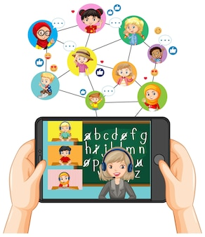 Handen met smartphone met op smartphonescherm op witte achtergrond
