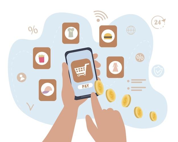 Handen met smartphone winkelen met mobiele applicaties