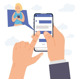 Handen met smartphoneberichten