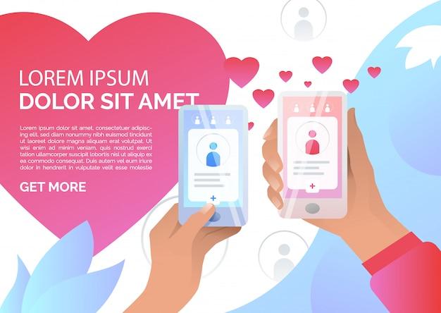 Handen met smartphones met online dating-applicatie