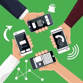 Handen met smartphones telefoons die bellen sms-producten online cartoon platte ontwerpstijl
