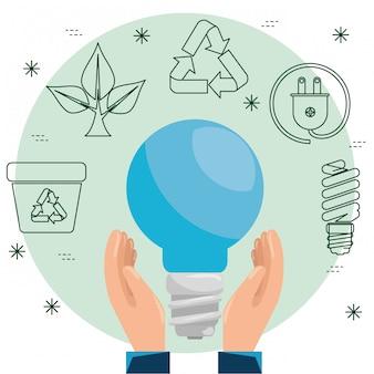 Handen met spaarlamp voor duurzame ecologie