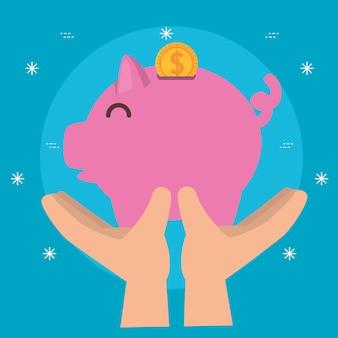Handen met spaarvarken voor liefdadigheidsschenking