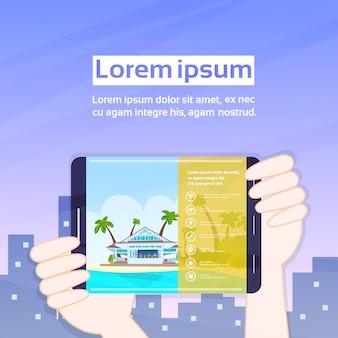 Handen met tablet met app huren