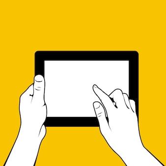 Handen met tablet-pc, vinger raakt screnn
