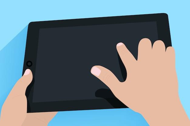Handen met tablet pc