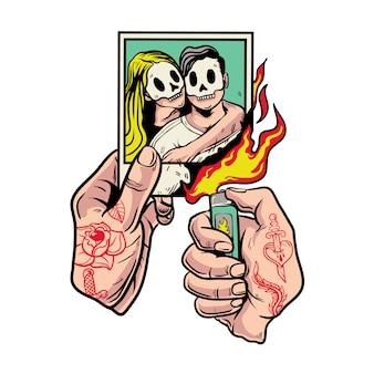 Handen met tattoo-brandende foto's