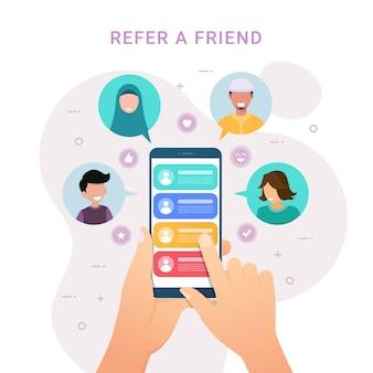 Handen met telefoon met contacten voor verwijs een vriend ontwerpconcept
