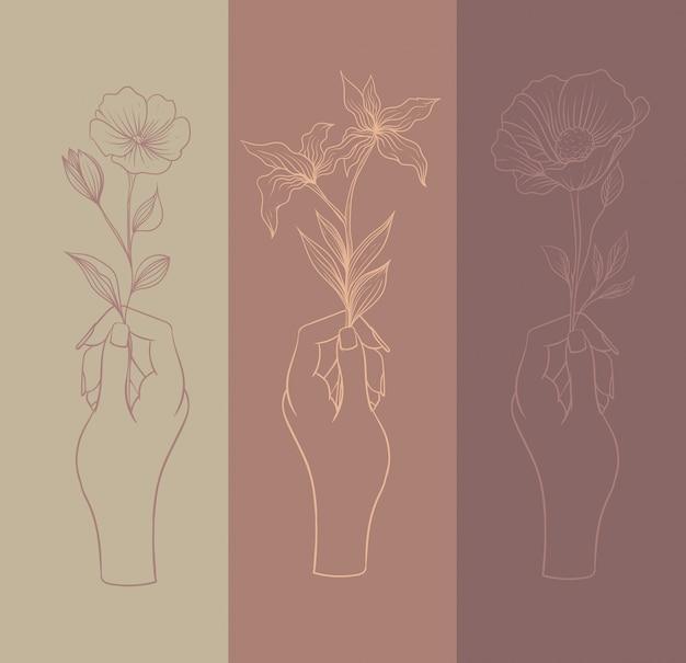 Handen met verschillende soorten bloemen, lijntekeningen