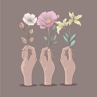 Handen met verschillende soorten bloemen zachte kleurenillustratie