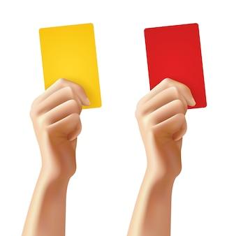 Handen met voetbalkaarten