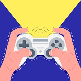 Handen met witte gamepad. gamer speelt. vector illustratie.