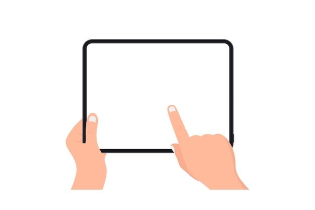 Handen met zwarte tablet met leeg scherm op witte achtergrond. menselijke hand met behulp van digitale tablet en vinger touchscreen. sjabloon mockup tablet pc met leeg scherm. ontwerp voor website, mobiele app
