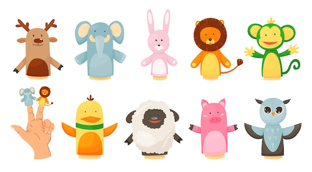 Handen of vingerpoppetjes spelen poppen collectie afbeelding ontwerp