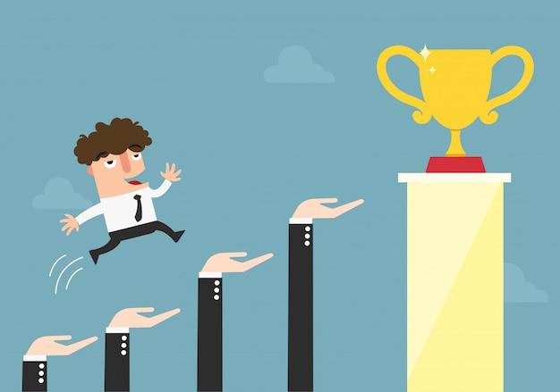 Handen om zakenman te helpen om naar succes, carrière en de groeiconcept, illustratie te gaan.