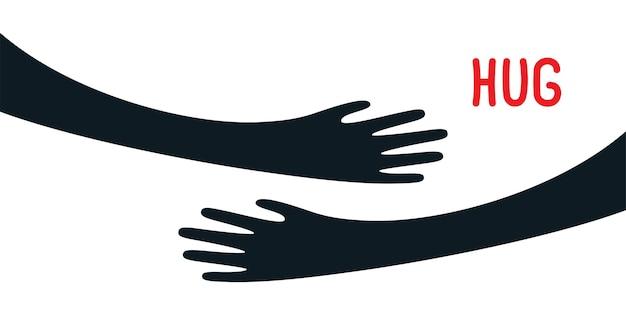 Handen omhelsden jezelf eenvoudige illustratie