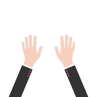 Handen omhoog in pak. concept van goed, goedkeuren, feliciteren, ondernemer, mee eens, uitstekend, zakenman, ongelukkig, motivatie. vlakke stijl trend modern grafisch ontwerp op witte achtergrond