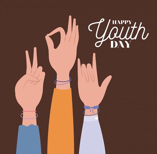 Handen omhoog van de gelukkige jeugddag