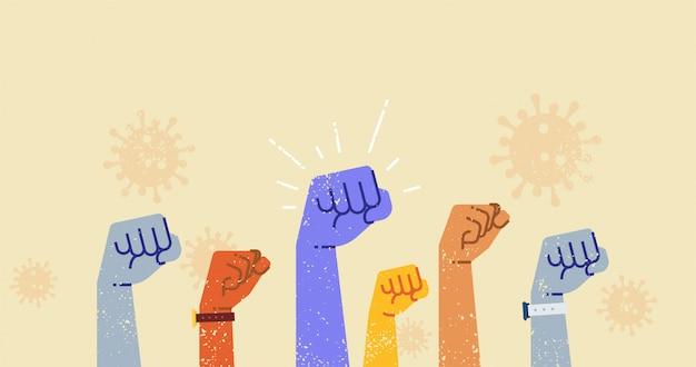 Handen omhoog vechten samen tegen coronavirus-illustratie.