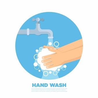 Handen onder vallend water uit de kraan. man wast handen. vlakke stijl